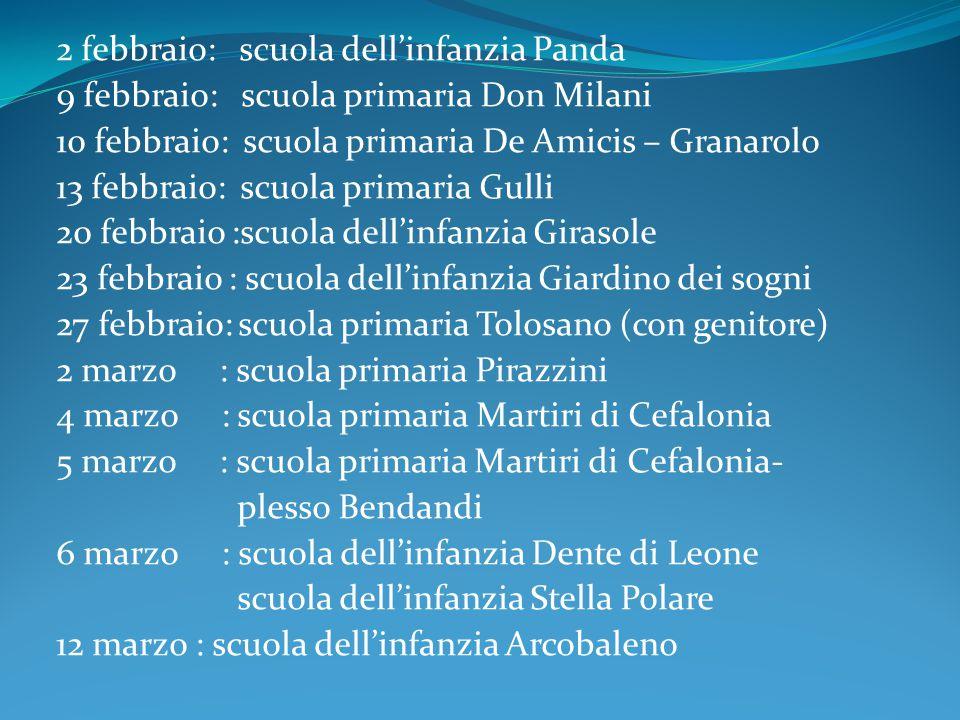 2 febbraio: scuola dell'infanzia Panda 9 febbraio: scuola primaria Don Milani 10 febbraio: scuola primaria De Amicis – Granarolo 13 febbraio: scuola p