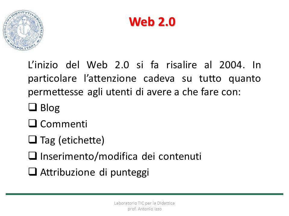 Web 2.0 L'inizio del Web 2.0 si fa risalire al 2004. In particolare l'attenzione cadeva su tutto quanto permettesse agli utenti di avere a che fare co