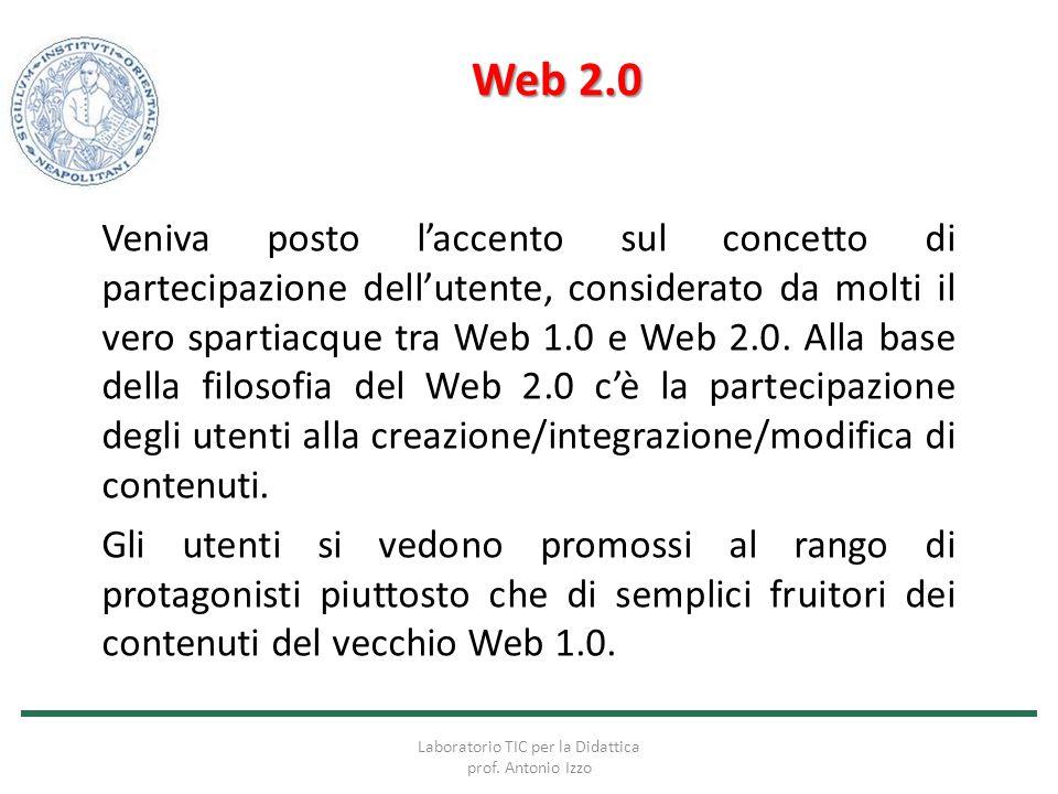 Web 2.0 Veniva posto l'accento sul concetto di partecipazione dell'utente, considerato da molti il vero spartiacque tra Web 1.0 e Web 2.0. Alla base d