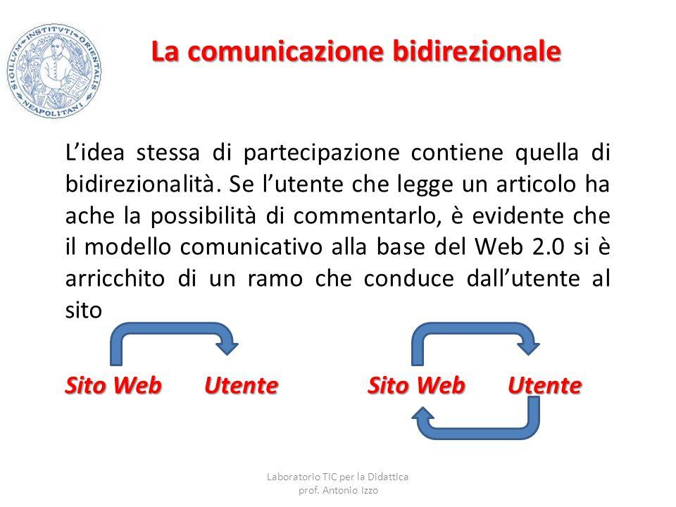 La comunicazione bidirezionale L'idea stessa di partecipazione contiene quella di bidirezionalità. Se l'utente che legge un articolo ha ache la possib