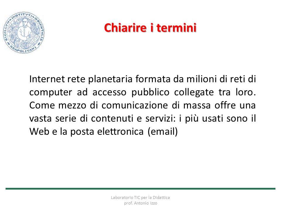 Chiarire i termini Internet rete planetaria formata da milioni di reti di computer ad accesso pubblico collegate tra loro. Come mezzo di comunicazione