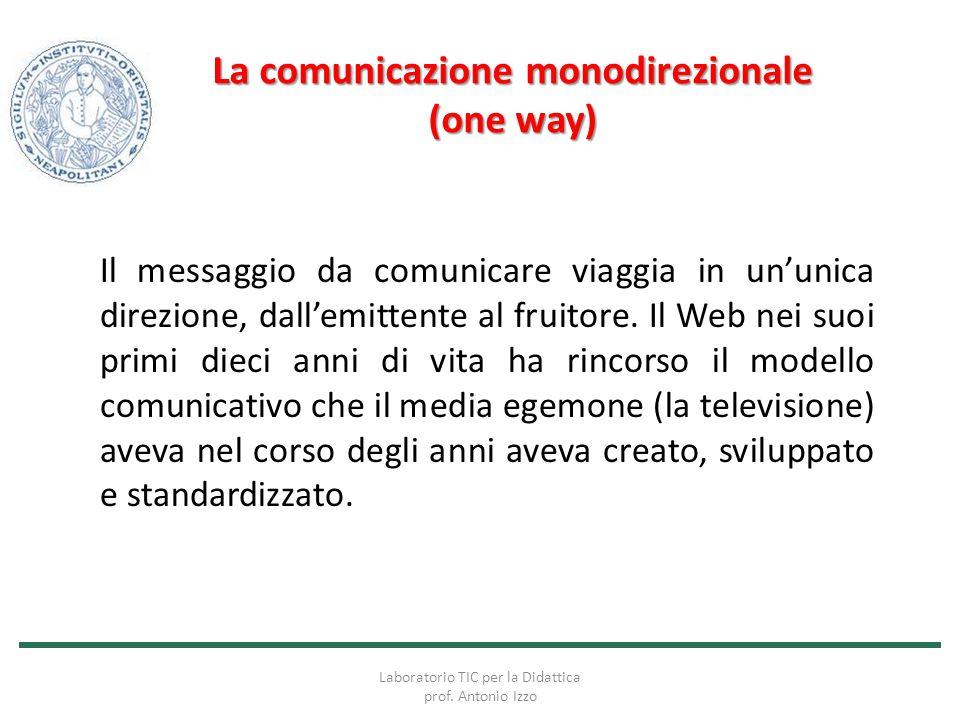 La comunicazione monodirezionale (one way) Il messaggio da comunicare viaggia in un'unica direzione, dall'emittente al fruitore. Il Web nei suoi primi