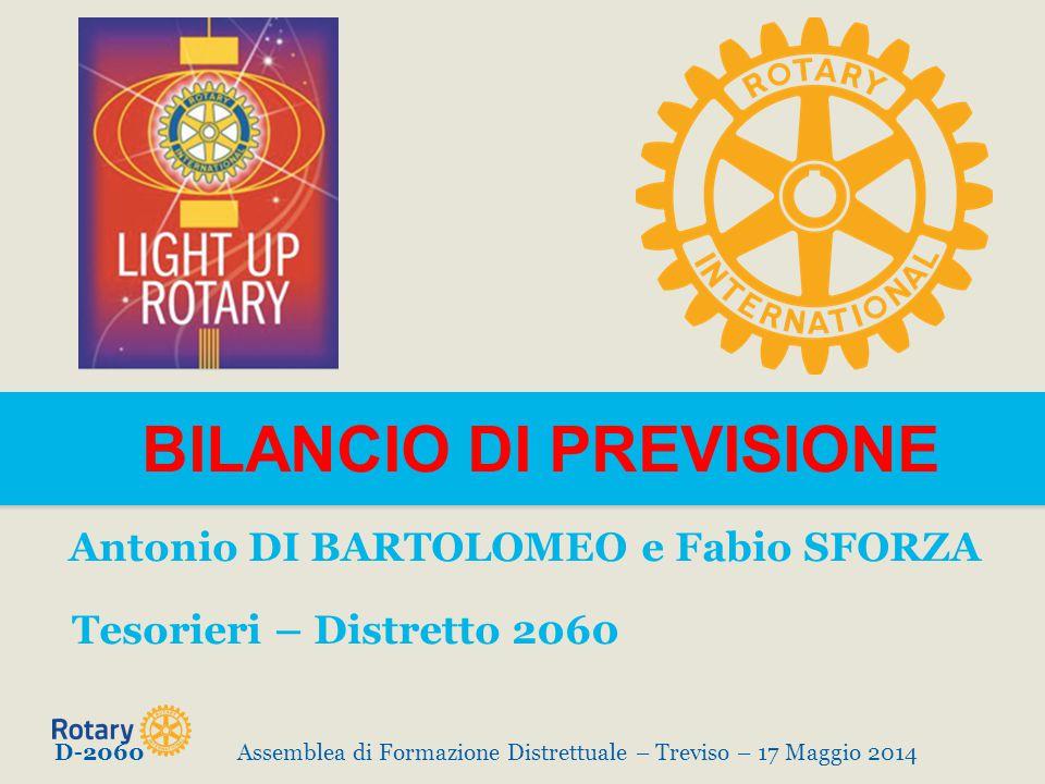 BILANCIO DI PREVISIONE Antonio DI BARTOLOMEO e Fabio SFORZA Tesorieri – Distretto 2060 D-2060Assemblea di Formazione Distrettuale – Treviso – 17 Maggio 2014