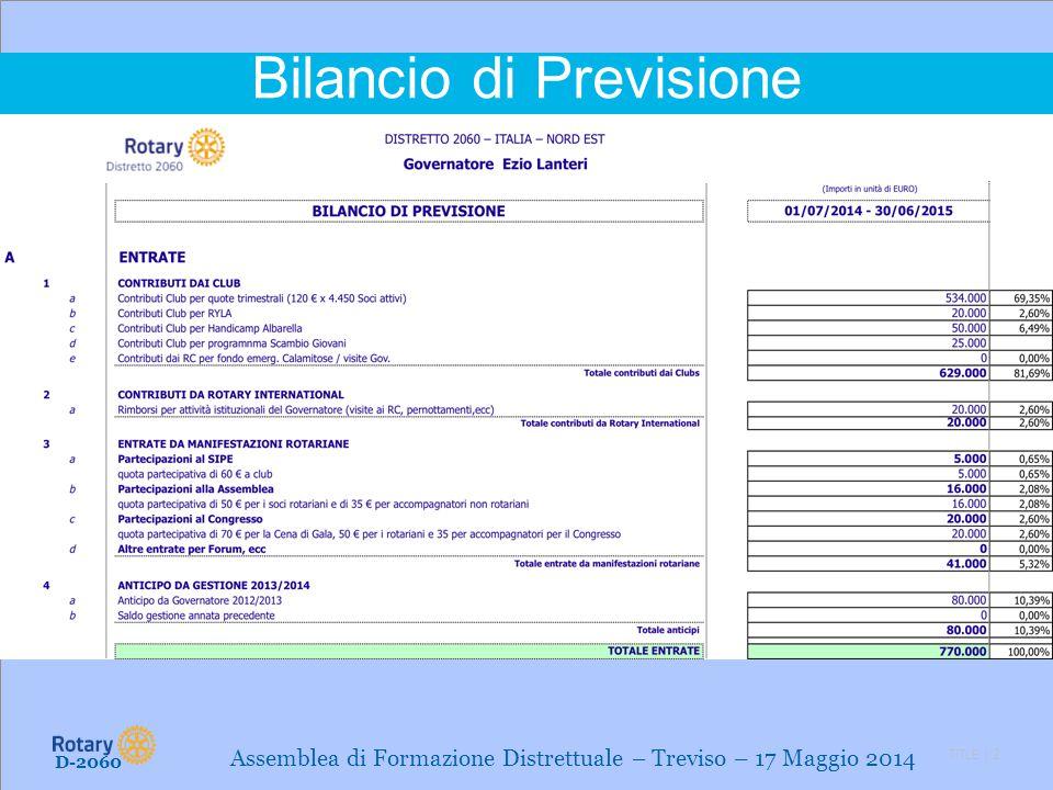 TITLE | 2 Bilancio di Previsione D-2060 Assemblea di Formazione Distrettuale – Treviso – 17 Maggio 2014