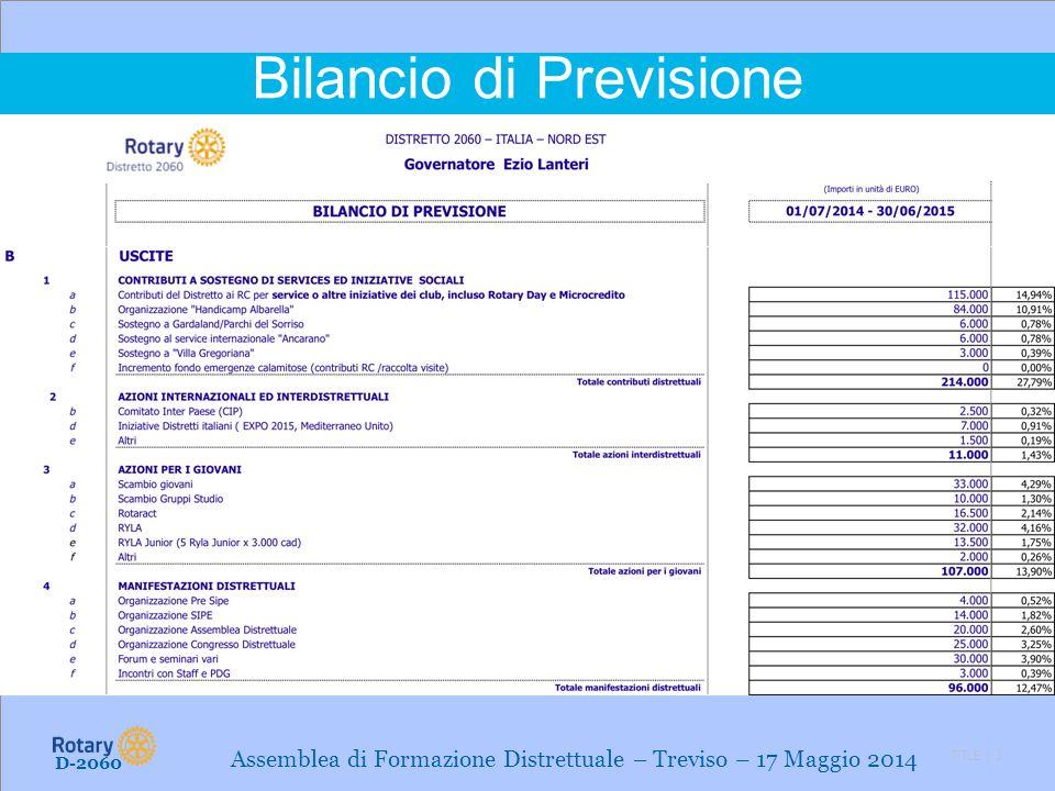 TITLE | 3 Bilancio di Previsione D-2060 Assemblea di Formazione Distrettuale – Treviso – 17 Maggio 2014