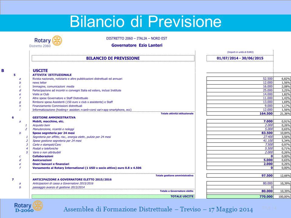 TITLE | 4 Bilancio di Previsione D-2060 Assemblea di Formazione Distrettuale – Treviso – 17 Maggio 2014
