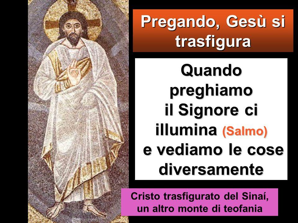 Quando preghiamo il Signore ci illumina (Salmo) e vediamo le cose diversamente Cristo trasfigurato del Sinaí, un altro monte di teofania Pregando, Gesù si trasfigura