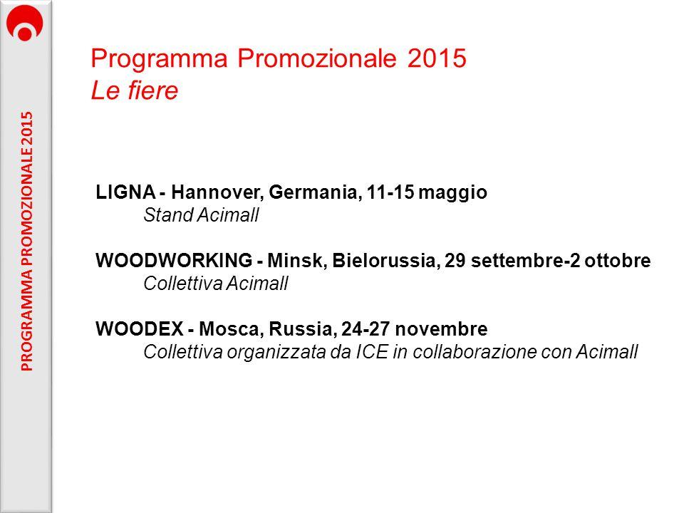 LIGNA - Hannover, Germania, 11-15 maggio Stand Acimall WOODWORKING - Minsk, Bielorussia, 29 settembre-2 ottobre Collettiva Acimall WOODEX - Mosca, Rus