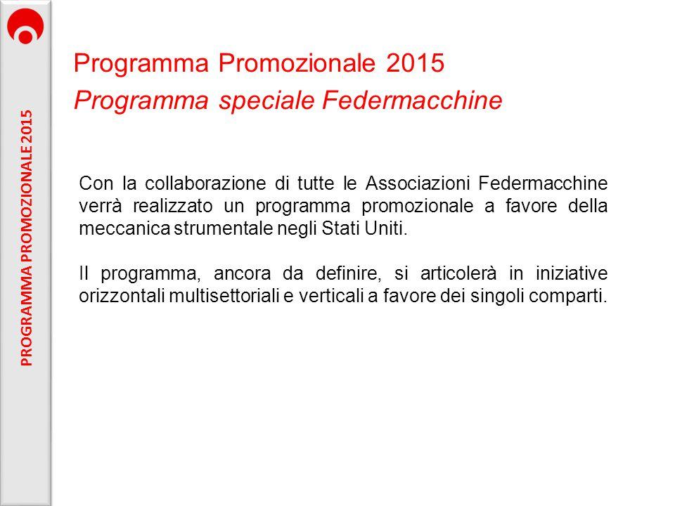 Programma Promozionale 2015 Programma speciale Federmacchine Con la collaborazione di tutte le Associazioni Federmacchine verrà realizzato un programm