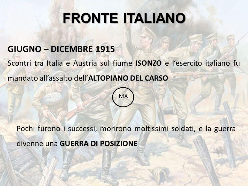 FRONTE ITALIANO GIUGNO – DICEMBRE 1915 Scontri tra Italia e Austria sul fiume ISONZO e l'esercito italiano fu mandato all'assalto dell'ALTOPIANO DEL C