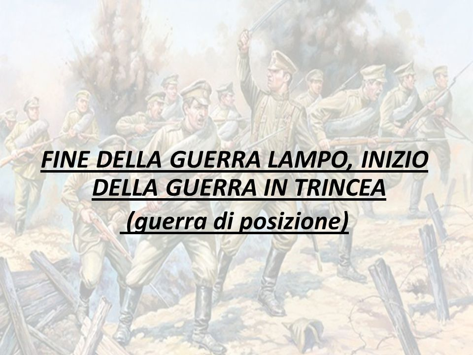 FINE DELLA GUERRA LAMPO, INIZIO DELLA GUERRA IN TRINCEA (guerra di posizione)