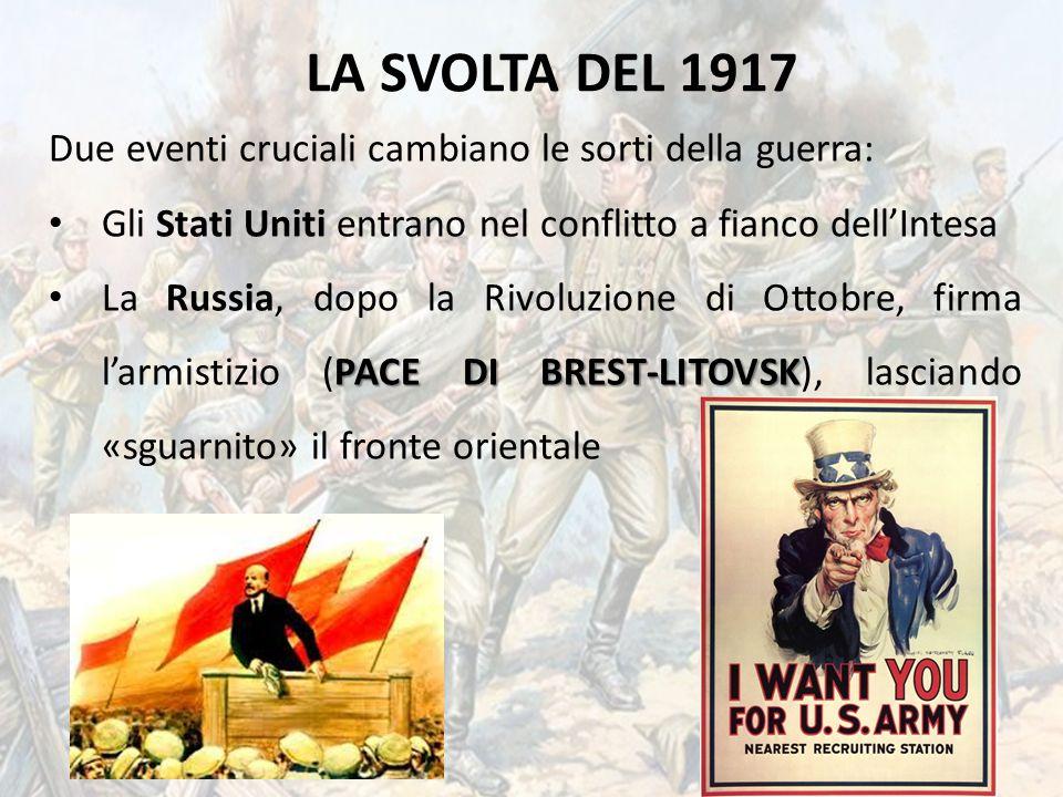LA SVOLTA DEL 1917 Due eventi cruciali cambiano le sorti della guerra: Gli Stati Uniti entrano nel conflitto a fianco dell'Intesa PACE DI BREST-LITOVS