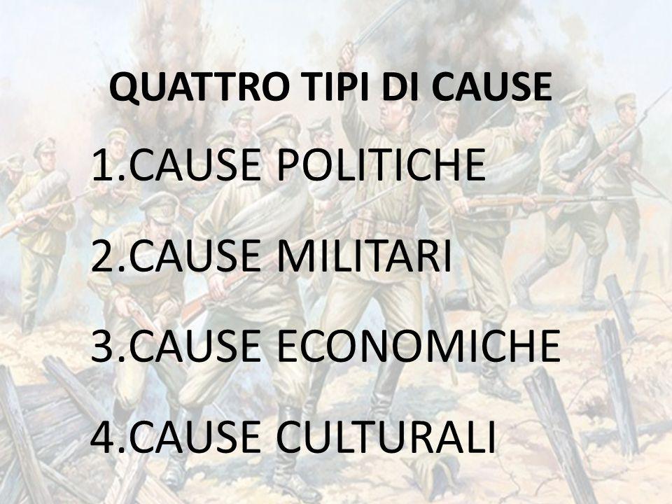 1.CAUSE POLITICHE 2.CAUSE MILITARI 3.CAUSE ECONOMICHE 4.CAUSE CULTURALI QUATTRO TIPI DI CAUSE