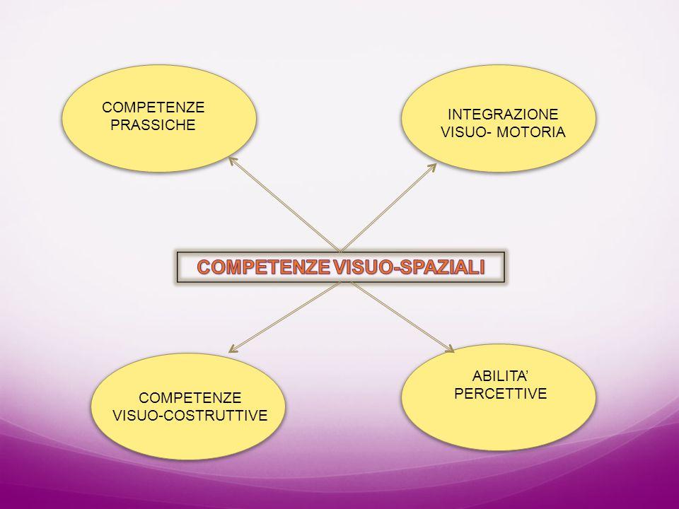 COMPETENZE PRASSICHE COMPETENZE VISUO-COSTRUTTIVE INTEGRAZIONE VISUO- MOTORIA ABILITA' PERCETTIVE