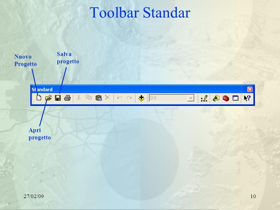 27/02/0910 Toolbar Standar Nuovo Progetto Apri progetto Salva progetto
