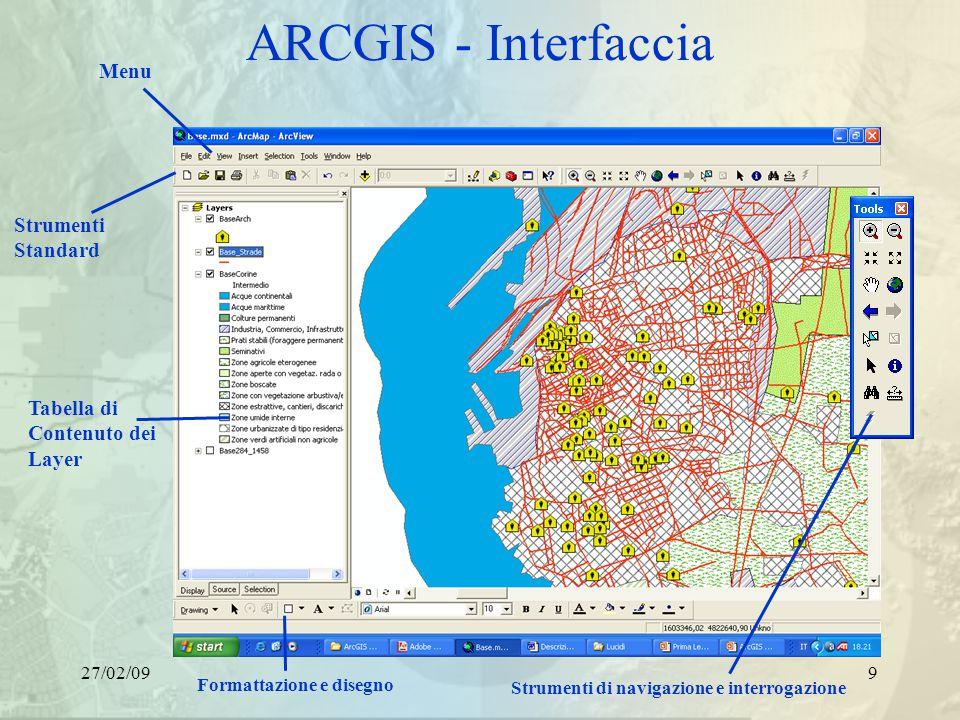 27/02/099 ARCGIS - Interfaccia Tabella di Contenuto dei Layer Menu Strumenti Standard Strumenti di navigazione e interrogazione Formattazione e disegno