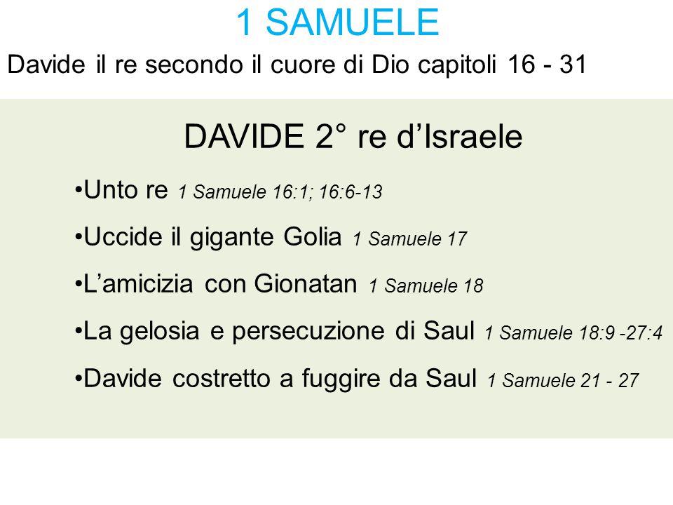 1 SAMUELE Davide il re secondo il cuore di Dio capitoli 16 - 31 DAVIDE 2° re d'Israele Unto re 1 Samuele 16:1; 16:6-13 Uccide il gigante Golia 1 Samue