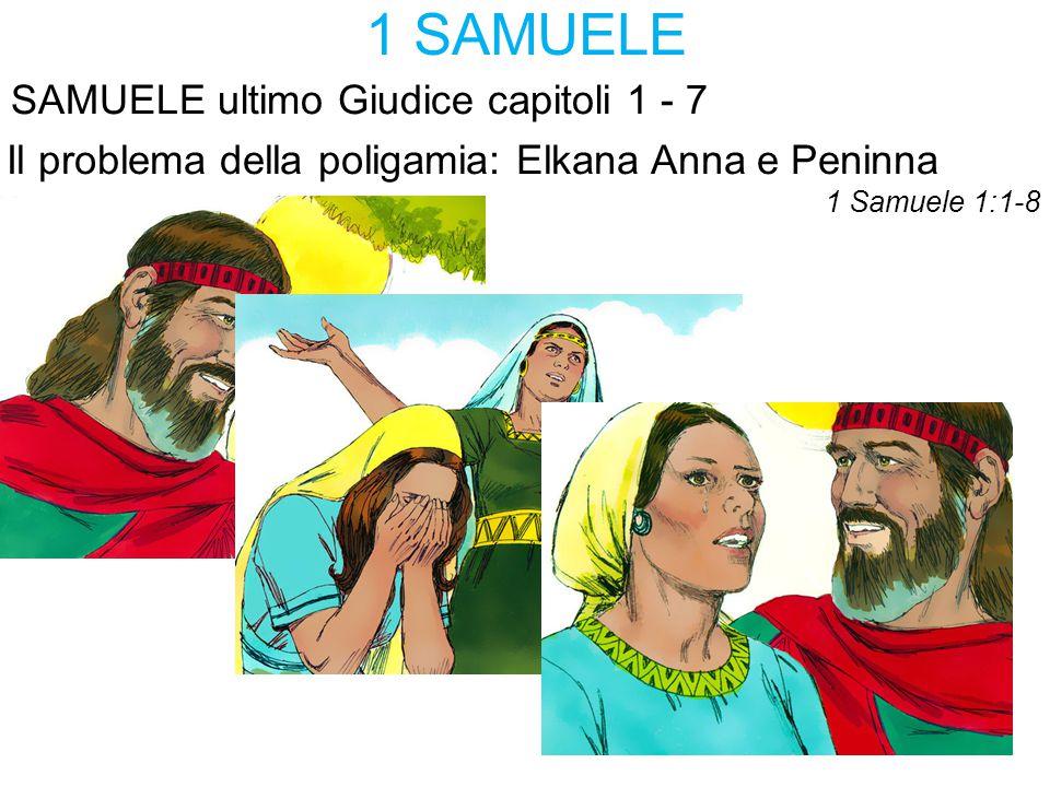 1 SAMUELE SAMUELE ultimo Giudice capitoli 1 - 7 Il problema della poligamia: Elkana Anna e Peninna 1 Samuele 1:1-8