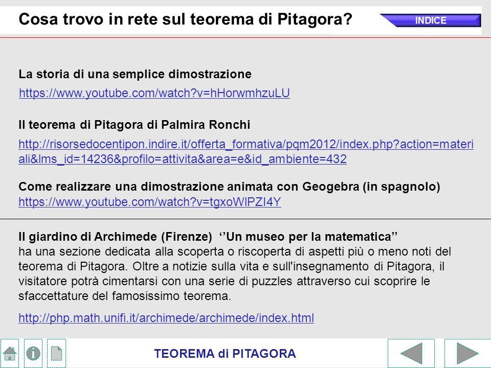 TEOREMA di PITAGORA Cosa trovo in rete sul teorema di Pitagora.