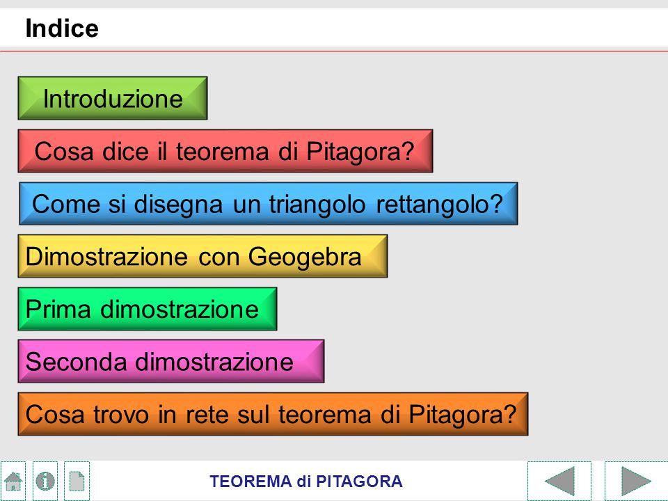 TEOREMA di PITAGORA Introduzione Tematica: l'attività svolta è stata finalizzata a mostrare alcuni possibili approcci didattici alle più semplici dimostrazioni del teorema di Pitagora con l'ausilio delle TIC.