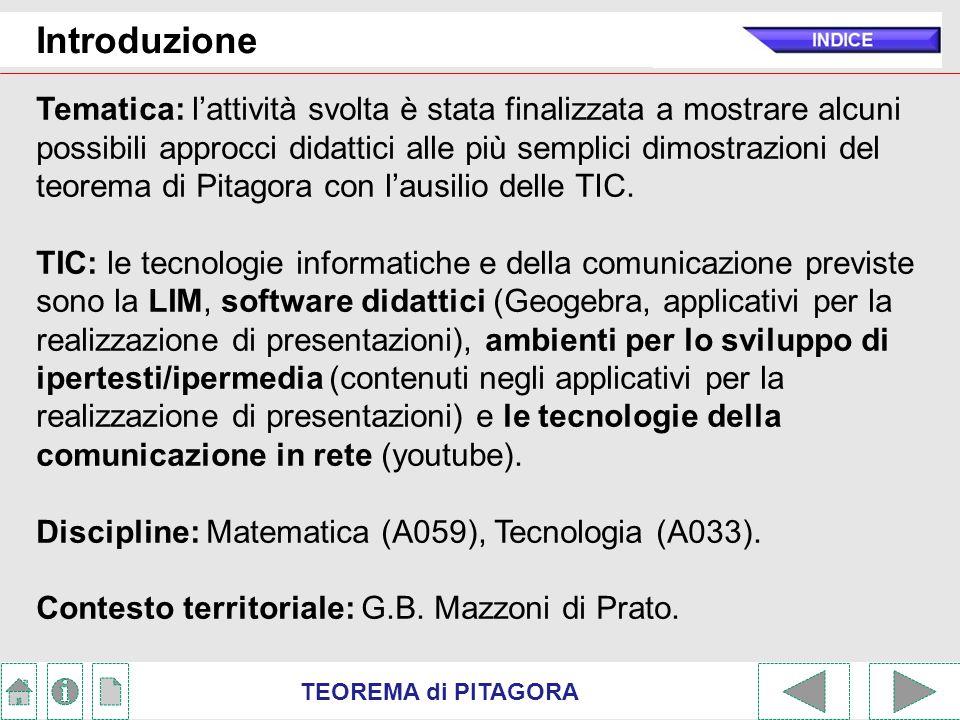TEOREMA di PITAGORA Introduzione Problematicità: per gli alunni con problematicità (alunni disabili, L.104/1992 ; BES, Dir.