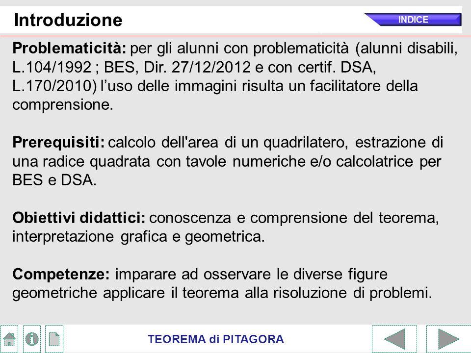 TEOREMA di PITAGORA Introduzione Metodi espositivi: attivo; riflessivo e partecipativo (role-playing, cooperative learning).