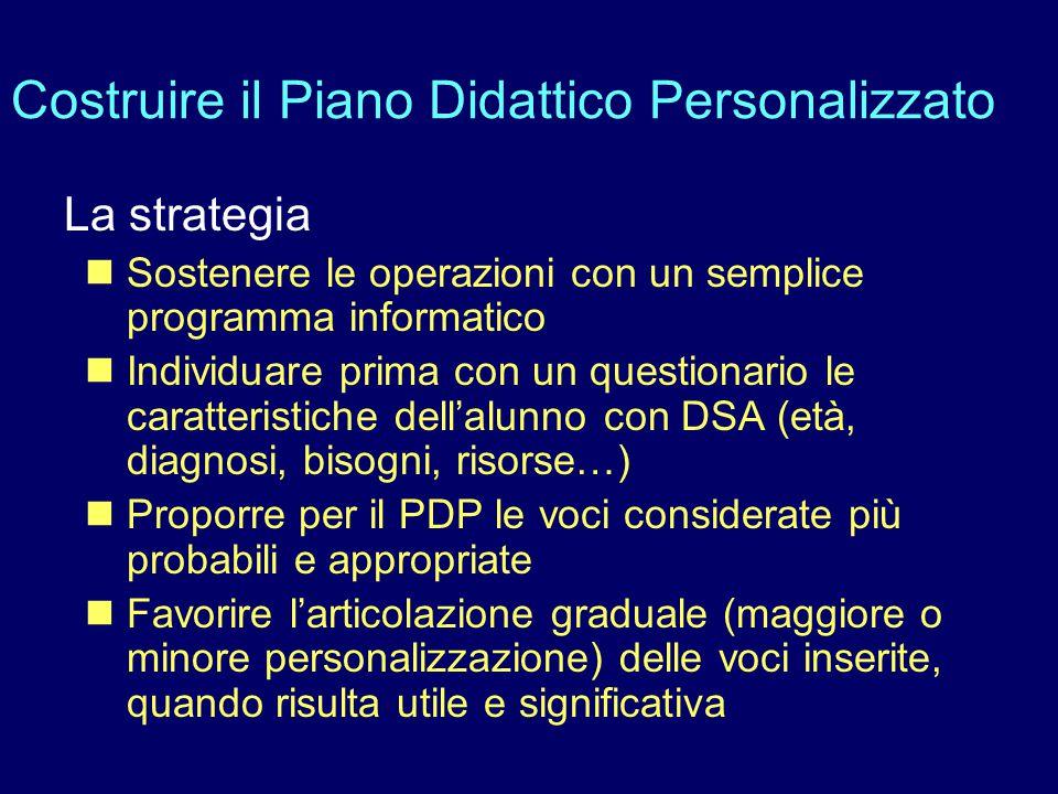 Costruire il Piano Didattico Personalizzato La strategia Sostenere le operazioni con un semplice programma informatico Individuare prima con un questi