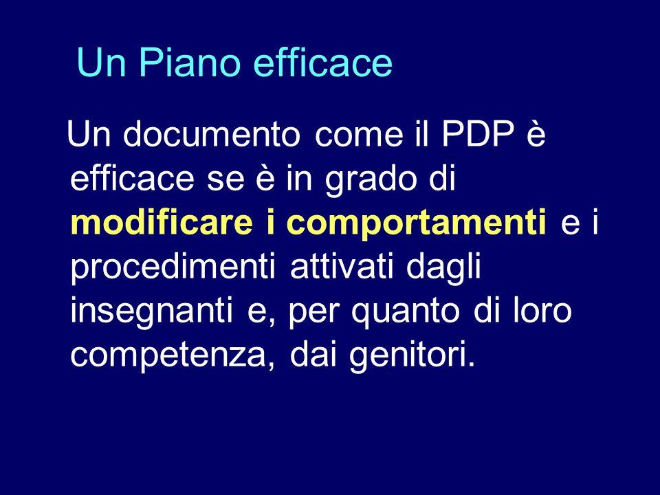 Il piano deve quindi contenere indicazioni: – significative; – realistiche; – coerenti; – concrete e verificabili.