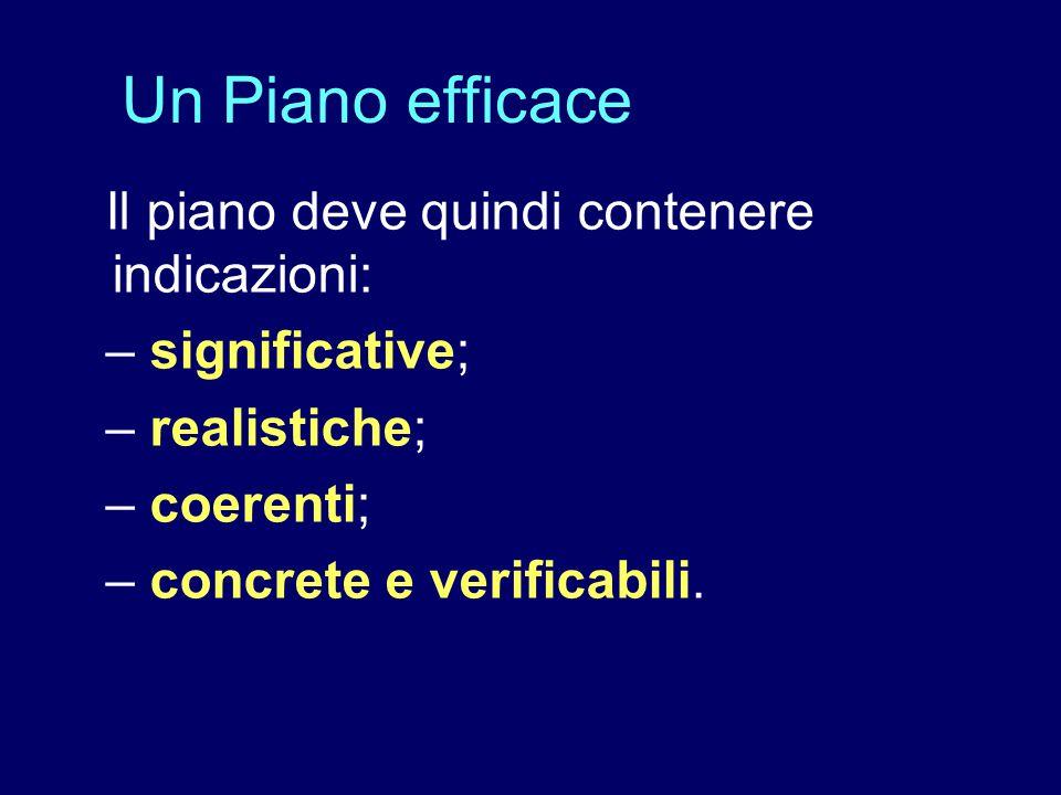 Il piano deve quindi contenere indicazioni: – significative; – realistiche; – coerenti; – concrete e verificabili. Un Piano efficace