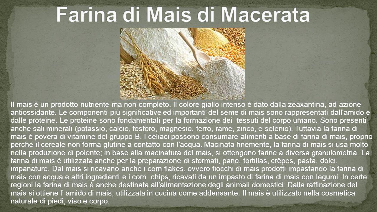 Il mais è un prodotto nutriente ma non completo.