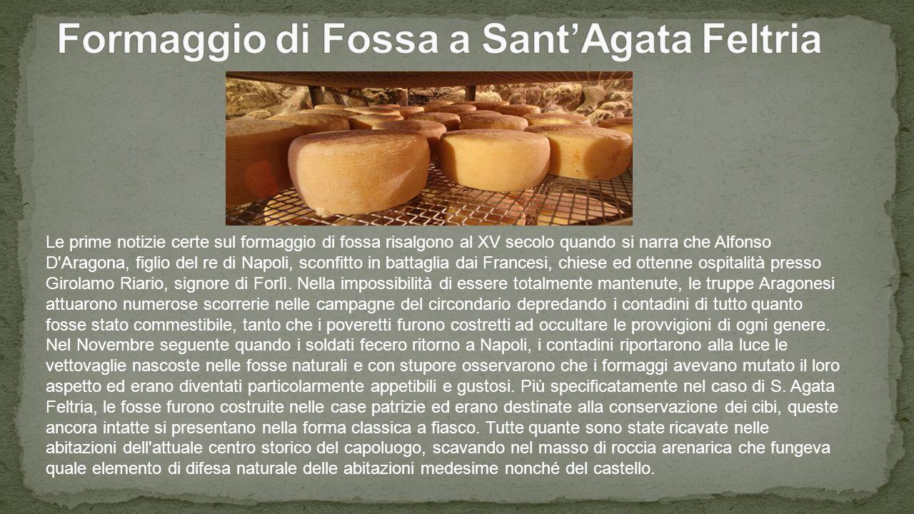 Le prime notizie certe sul formaggio di fossa risalgono al XV secolo quando si narra che Alfonso D Aragona, figlio del re di Napoli, sconfitto in battaglia dai Francesi, chiese ed ottenne ospitalità presso Girolamo Riario, signore di Forlì.