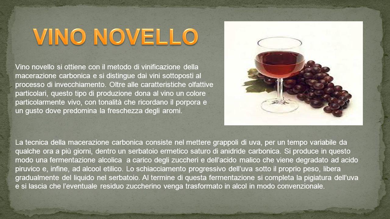 Vino novello si ottiene con il metodo di vinificazione della macerazione carbonica e si distingue dai vini sottoposti al processo di invecchiamento.
