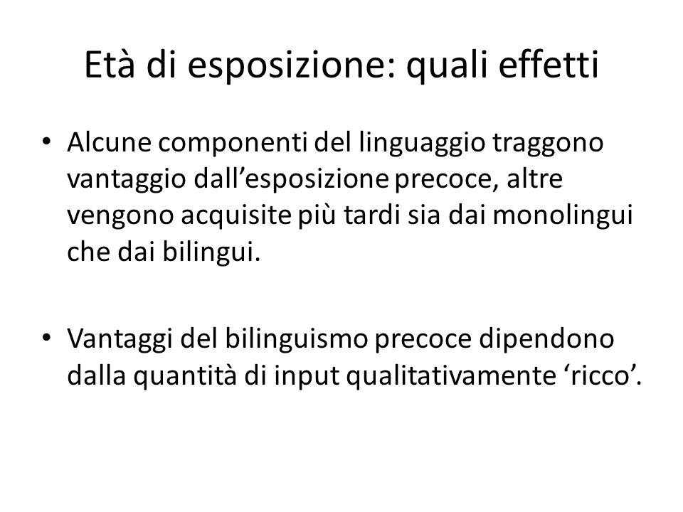 Età di esposizione: quali effetti Alcune componenti del linguaggio traggono vantaggio dall'esposizione precoce, altre vengono acquisite più tardi sia dai monolingui che dai bilingui.