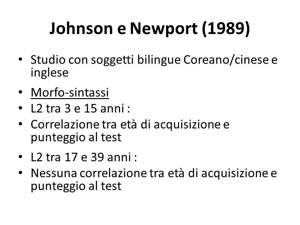 Johnson e Newport (1989) Studio con soggetti bilingue Coreano/cinese e inglese Morfo-sintassi L2 tra 3 e 15 anni : Correlazione tra età di acquisizione e punteggio al test L2 tra 17 e 39 anni : Nessuna correlazione tra età di acquisizione e punteggio al test