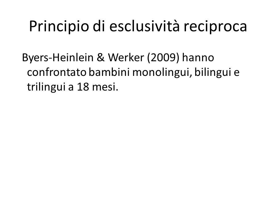 Principio di esclusività reciproca Byers-Heinlein & Werker (2009) hanno confrontato bambini monolingui, bilingui e trilingui a 18 mesi.