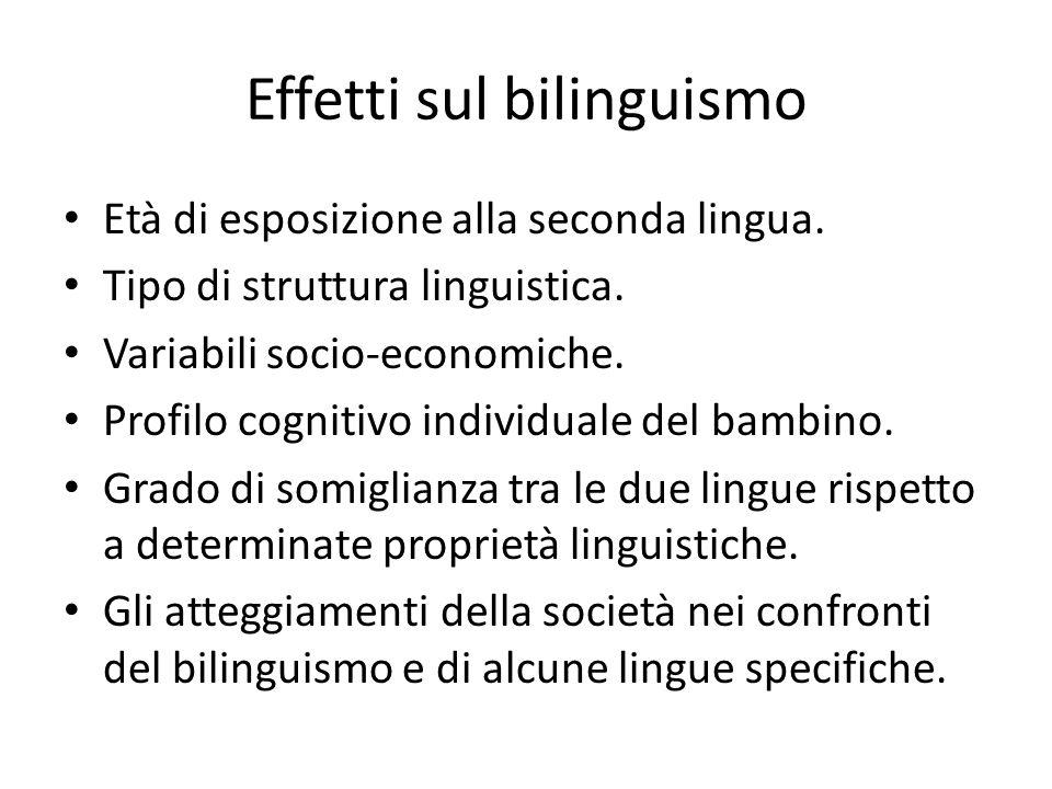 Effetti sul bilinguismo Età di esposizione alla seconda lingua. Tipo di struttura linguistica. Variabili socio-economiche. Profilo cognitivo individua