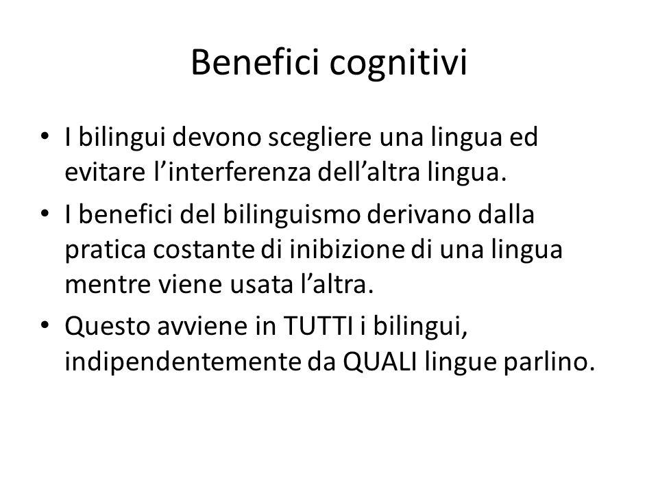 Benefici cognitivi I bilingui devono scegliere una lingua ed evitare l'interferenza dell'altra lingua. I benefici del bilinguismo derivano dalla prati