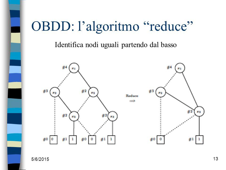 """5/6/2015 13 OBDD: l'algoritmo """"reduce"""" Identifica nodi uguali partendo dal basso"""