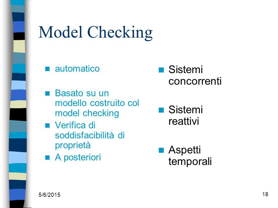 5/6/2015 18 Model Checking automatico Basato su un modello costruito col model checking Verifica di soddisfacibilità di proprietà A posteriori Sistemi concorrenti Sistemi reattivi Aspetti temporali