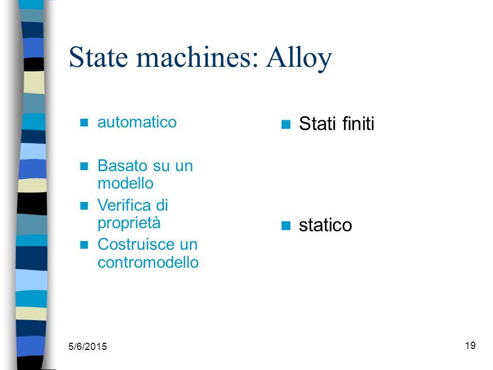 State machines: Alloy 5/6/2015 19 automatico Basato su un modello Verifica di proprietà Costruisce un contromodello Stati finiti statico