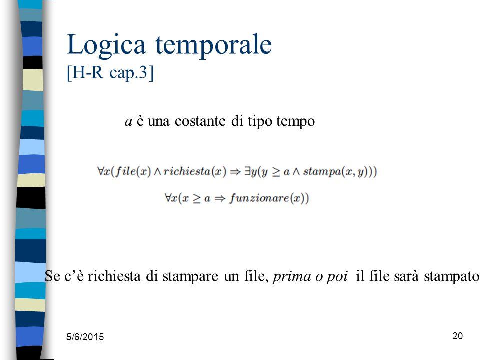 5/6/2015 20 Logica temporale [H-R cap.3] a è una costante di tipo tempo Se c'è richiesta di stampare un file, prima o poi il file sarà stampato