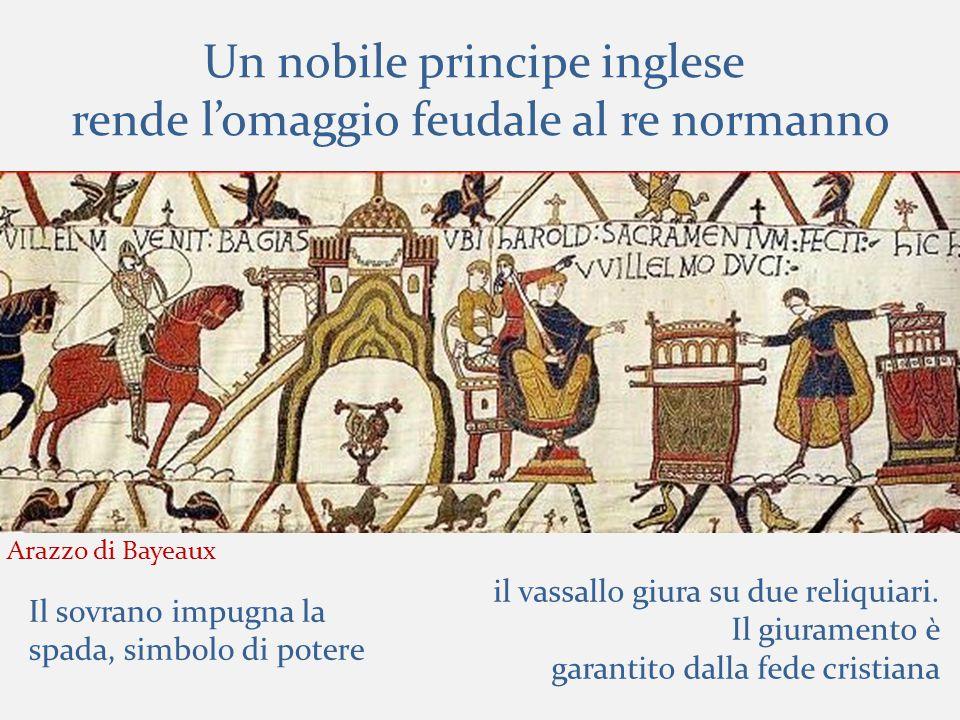 Un nobile principe inglese rende l'omaggio feudale al re normanno il vassallo giura su due reliquiari.