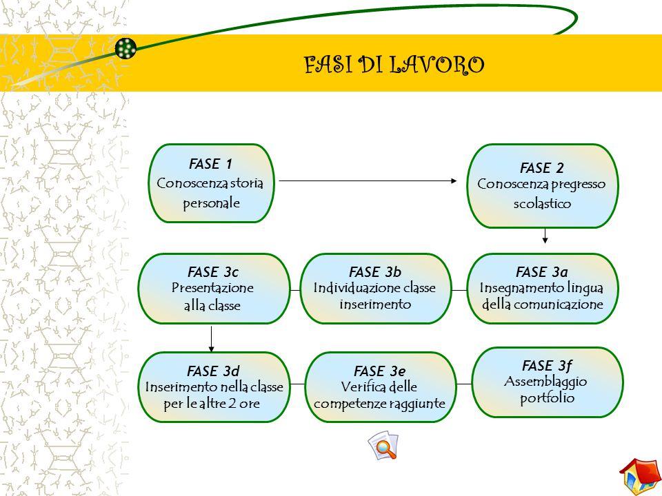 FASI DI LAVORO FASE 1 Conoscenza storia personale FASE 2 Conoscenza pregresso scolastico FASE 3a Insegnamento lingua della comunicazione FASE 3b Indiv