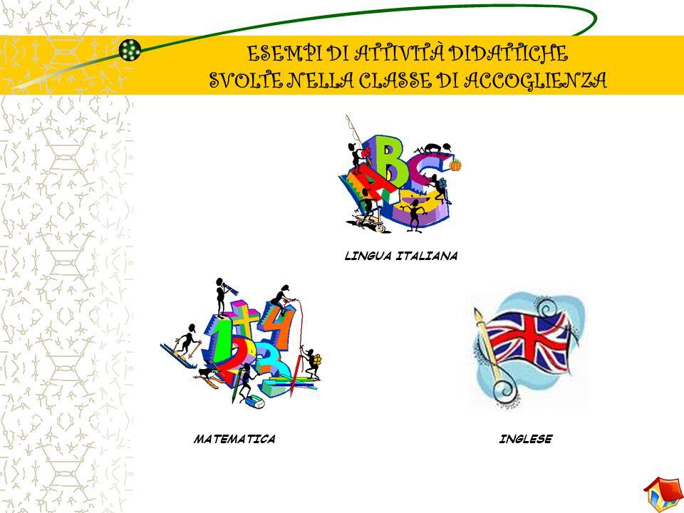 ESEMPI DI ATTIVITÀ DIDATTICHE SVOLTE NELLA CLASSE DI ACCOGLIENZA LINGUA ITALIANA MATEMATICAINGLESE