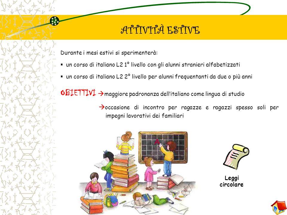 Durante i mesi estivi si sperimenterà: uun corso di italiano L2 1° livello con gli alunni stranieri alfabetizzati uun corso di italiano L2 2° live