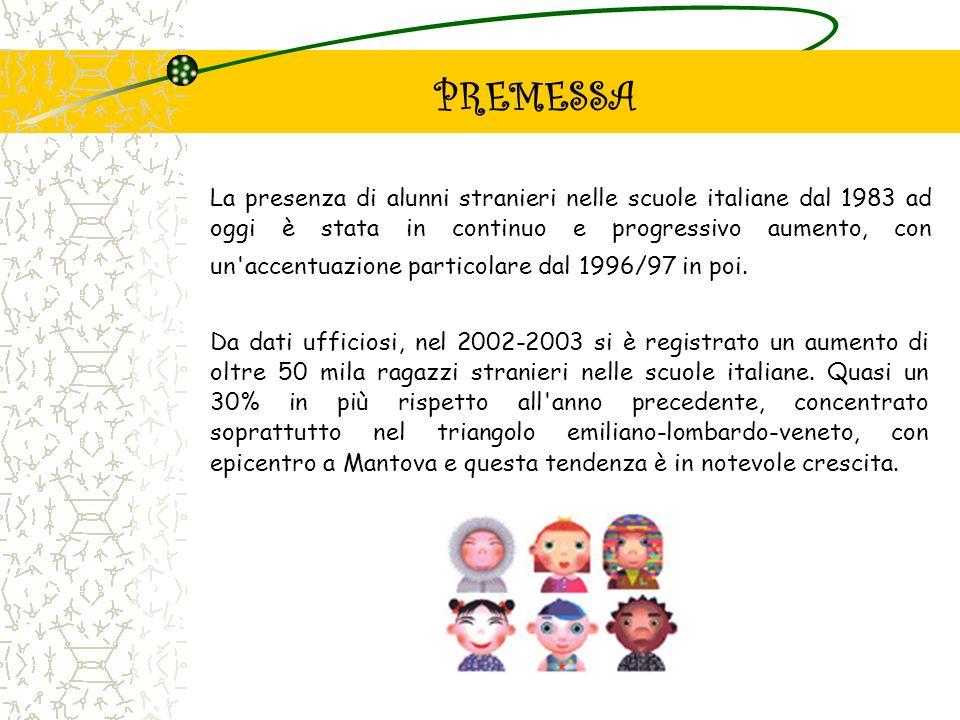 PREMESSA La presenza di alunni stranieri nelle scuole italiane dal 1983 ad oggi è stata in continuo e progressivo aumento, con un'accentuazione partic