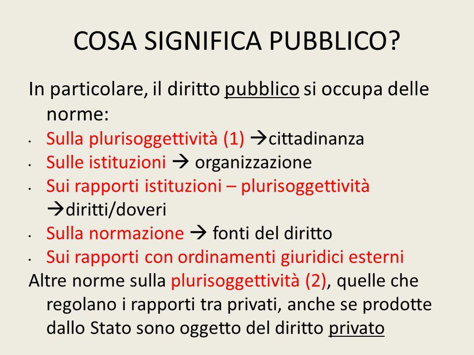 COSA SIGNIFICA PUBBLICO? In particolare, il diritto pubblico si occupa delle norme: Sulla plurisoggettività (1)  cittadinanza Sulle istituzioni  org