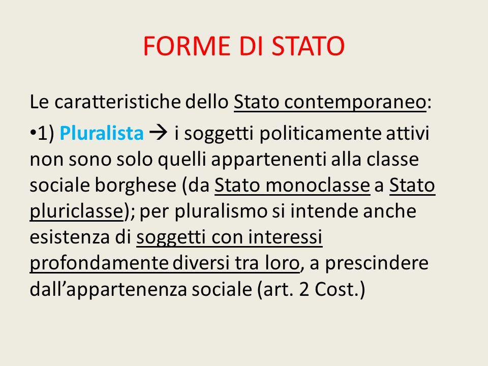 FORME DI STATO Le caratteristiche dello Stato contemporaneo: 1) Pluralista  i soggetti politicamente attivi non sono solo quelli appartenenti alla cl