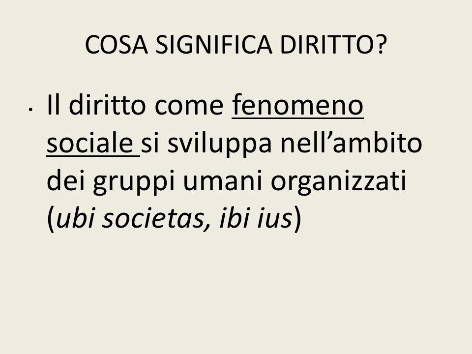 COSA SIGNIFICA DIRITTO? Il diritto come fenomeno sociale si sviluppa nell'ambito dei gruppi umani organizzati (ubi societas, ibi ius)