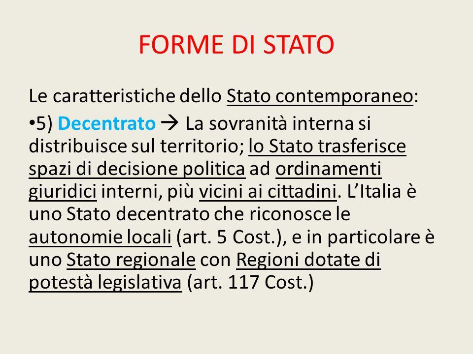 FORME DI STATO Le caratteristiche dello Stato contemporaneo: 5) Decentrato  La sovranità interna si distribuisce sul territorio; lo Stato trasferisce